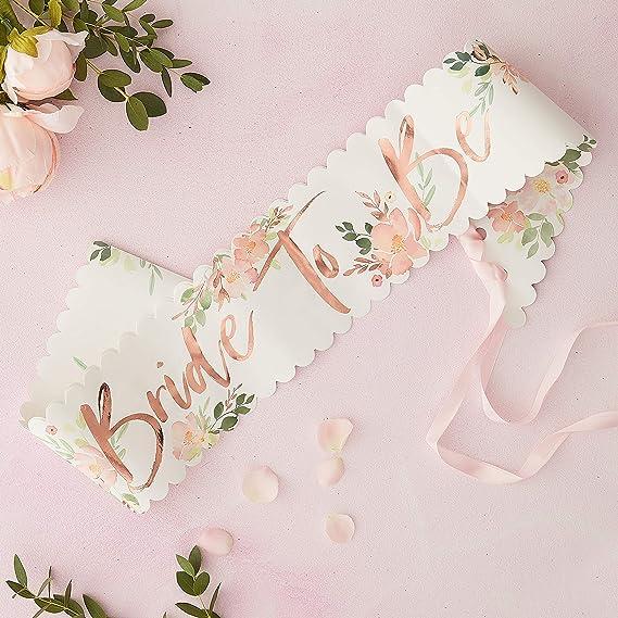 Ginger Ray Pink /& Rose Gold Foiled Team Bride Classy Designer Sash Kit 6 Pack