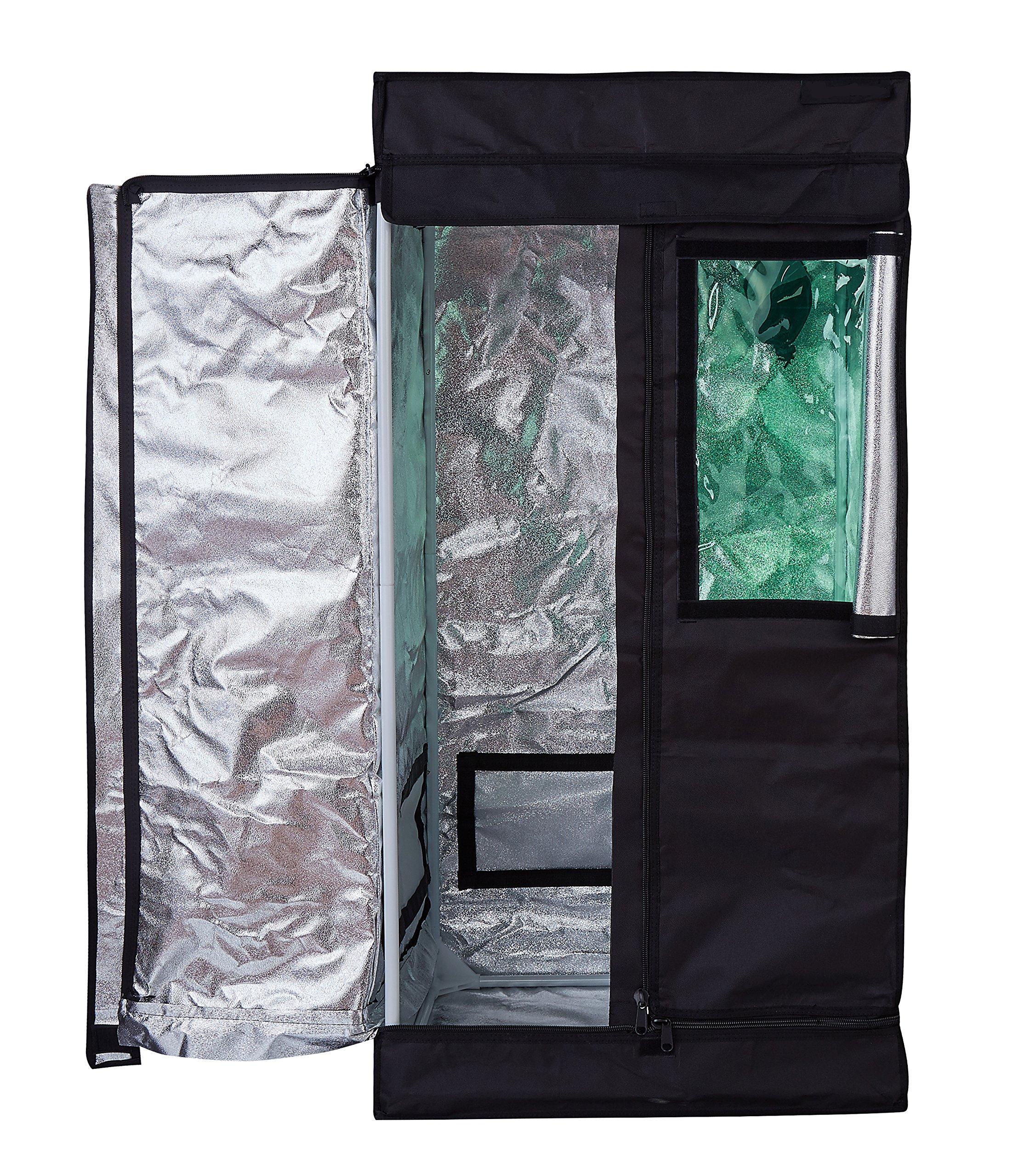 Hongruilite 24''x24''x48'' 36''x20''x63'' 32''x32''x63'' 48''x24''x60'' 48''x24''x72'' 48''x48''x78'' 96''x48''x78'' Hydroponic Indoor Grow Tent Room w/Plastic Corner (24''X24''X48'' w/Green Window)
