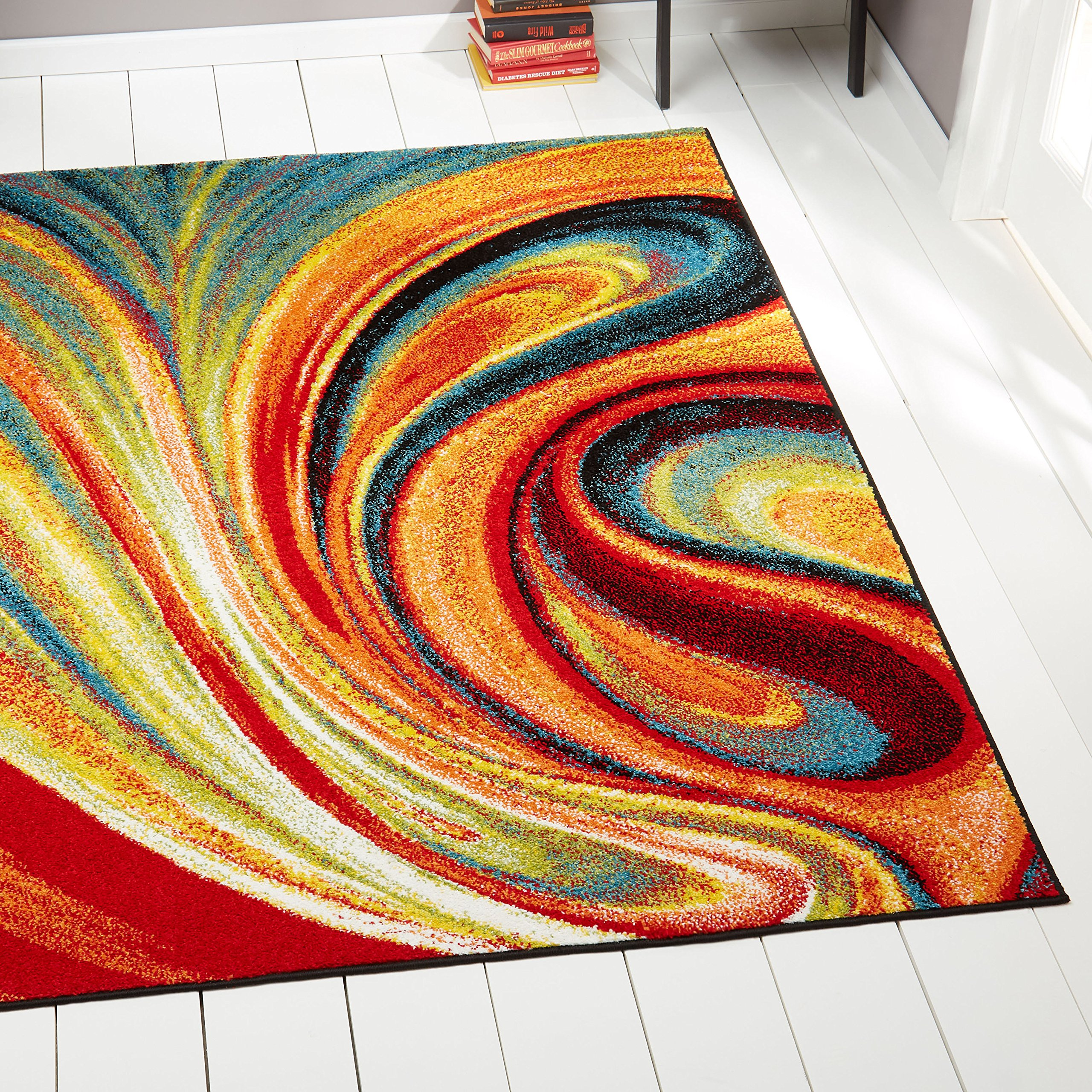 Home Dynamix Splash Adji Area Rug | Contemporary Living Room Rug | Abstract Brushstrokes | Bold and Vibrant Palette | Red, Blue Green 3'3'' x4'3