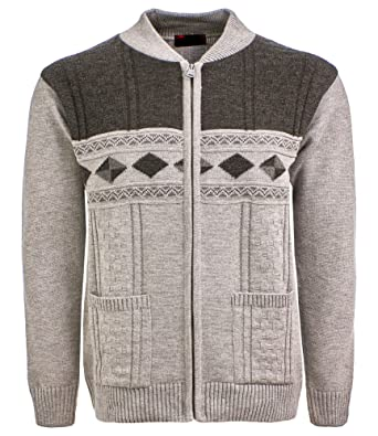 Sonia Fashions Mens Cardigan Classic Style Zipper Jumper With Front