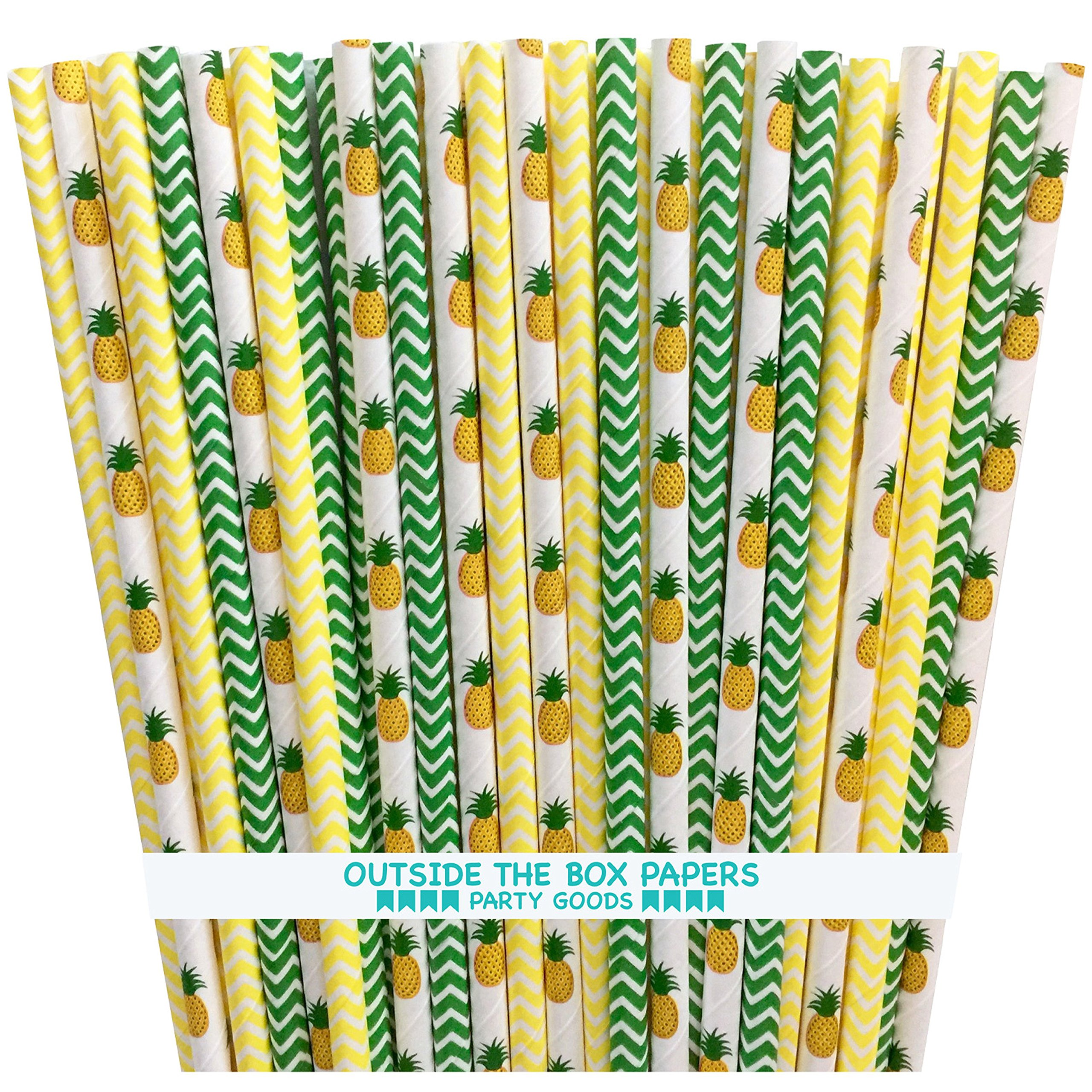 Pineapple Themed and Chevron Paper Straws - Green Yellow White - 7.75 Inches - 100 Pack