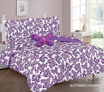 Girl/'s 6 Piece Purple Twin Twin XL Size Comforter Bedding Sheet Set Bedspread