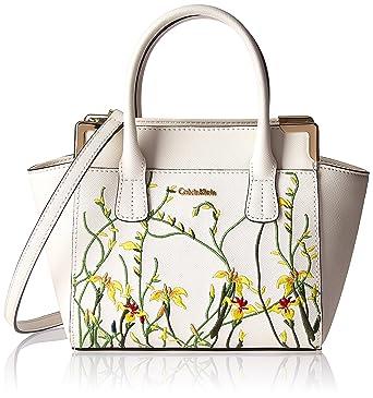 b4a5167dfb56 Calvin Klein womens Calvin Klein Mini Saffiano Leather Floral Applique  Crossbody, black floral, One