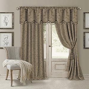 "Elrene Home Fashions Rod Pocket Damask Window Valance with Tassels, 52"" W x 19"" L, Taupe (1 Valance)"