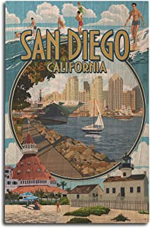 product image for Lantern Press San Diego, California - Montage (10x15 Wood Wall Sign, Wall Decor Ready to Hang)