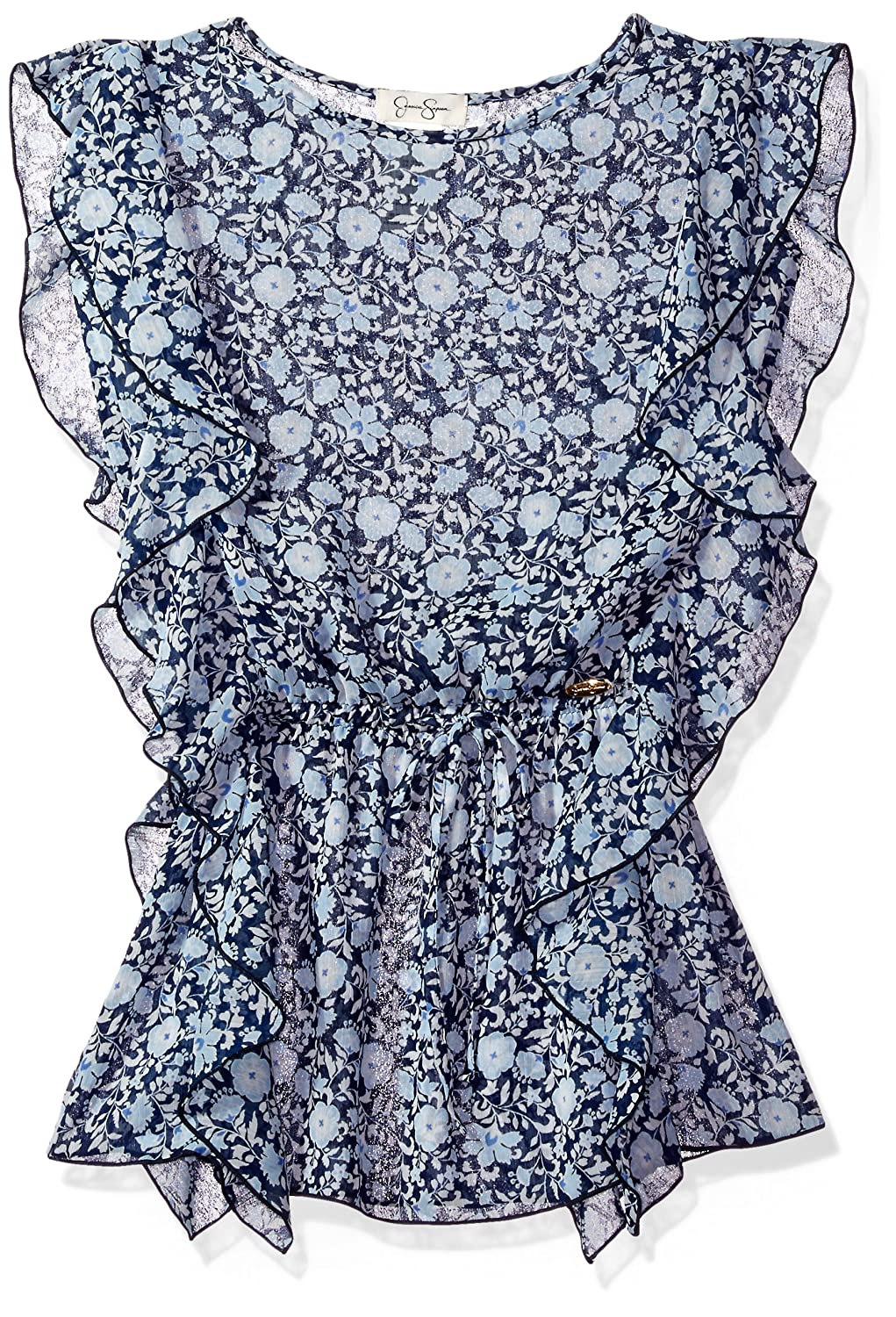 021cce962d8c Jessica Simpson Girls  Big Flutter Ditsy Floral Cover Up Blue SP17A295