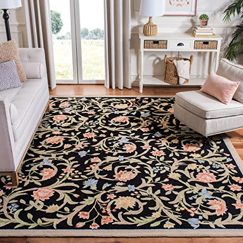 Safavieh Chelsea Collection HK248B Hand-Hooked Black Premium Wool Area Rug 5 3 x 8 3