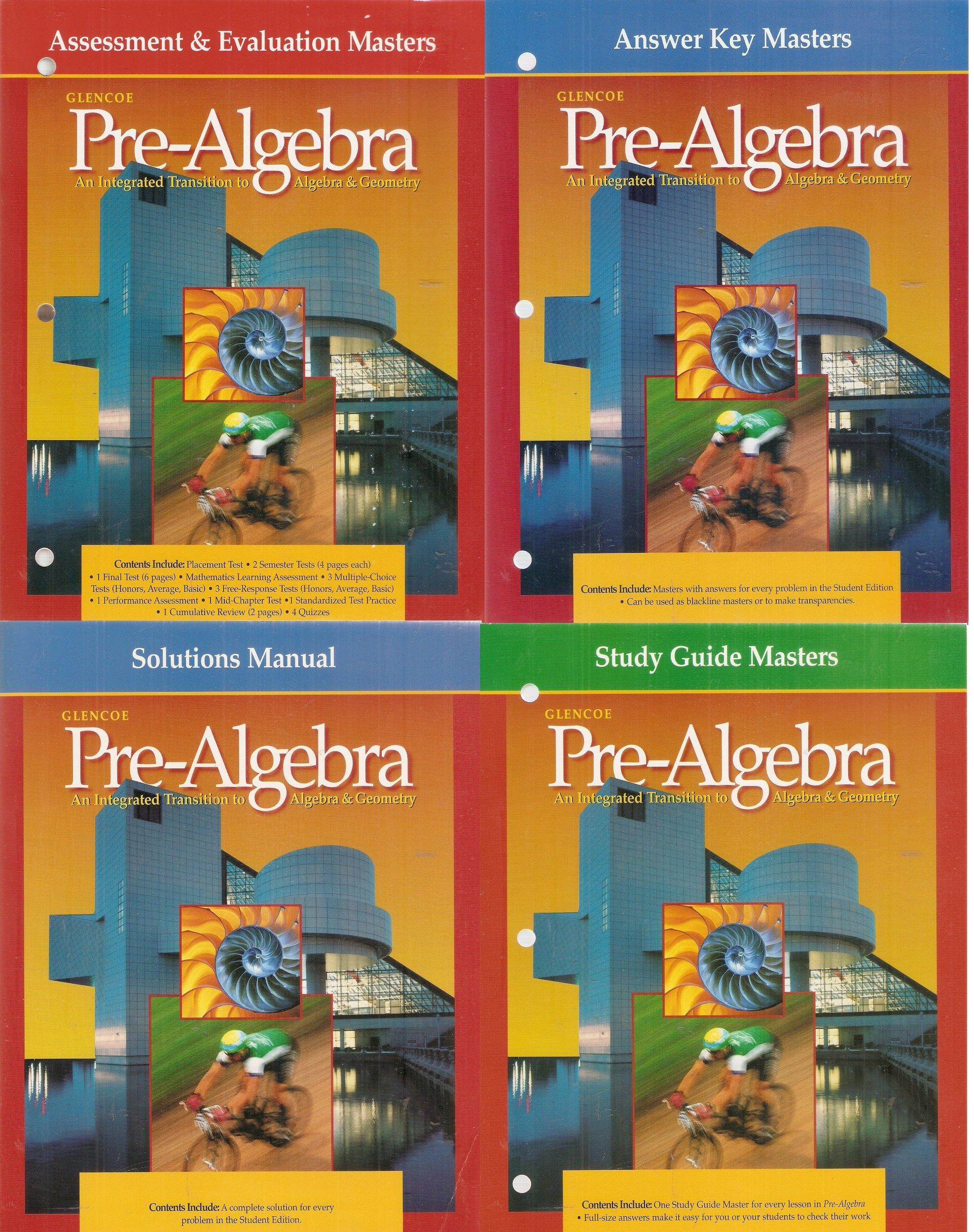 4 Volumes of Glencoe Pre-Algebra: Assessment & Evaluation