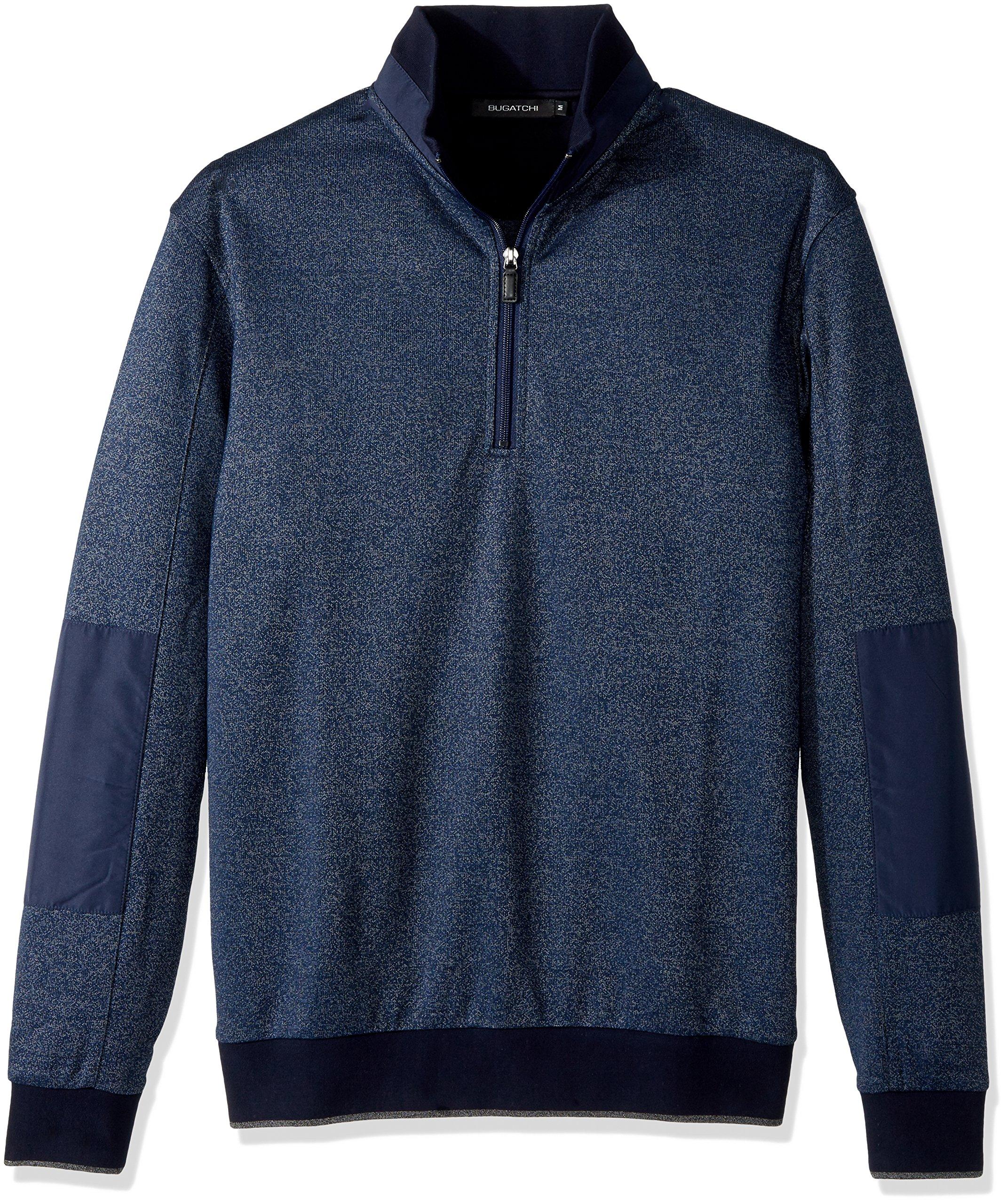 BUGATCHI Men's Cotton Long Sleeve Half Zip Mock Neck Knits, Navy, X-Large
