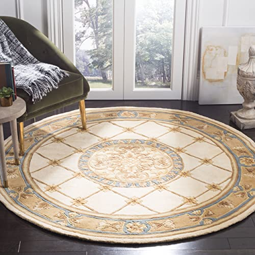 Safavieh Naples Collection NA523B Handmade Ivory and Caramel Wool Round Area Rug, 8 feet in Diameter 8 Diameter