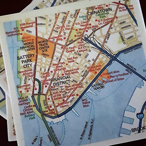 Lower East Side New York Map.Amazon Com New York City Street Map Drink Coasters Lower Manhattan