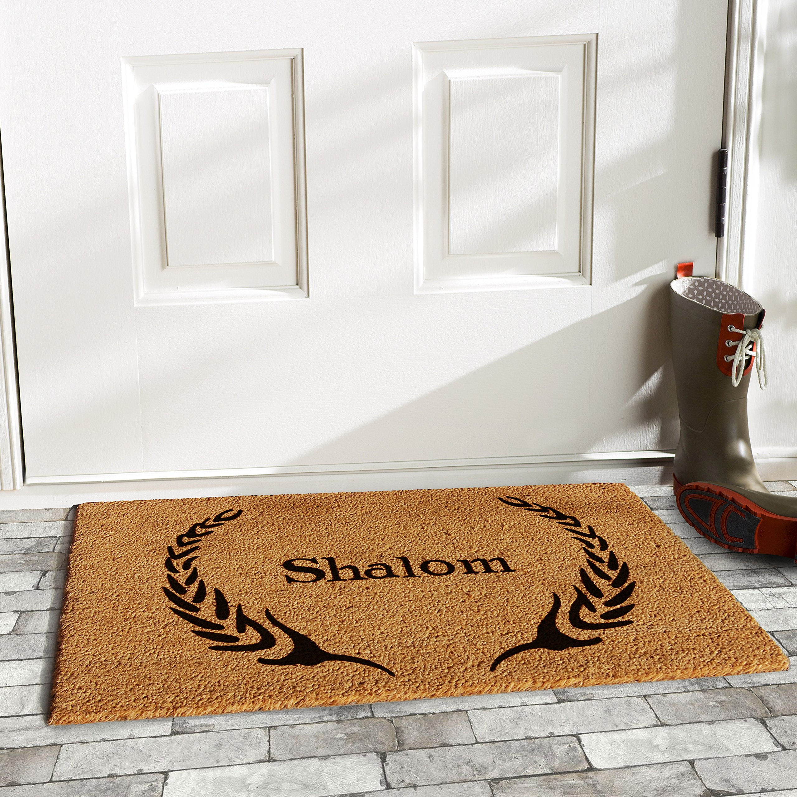 Home & More 120841729 Shalom Doormat, 17'' x 29'' x 0.60'', Natural/Black