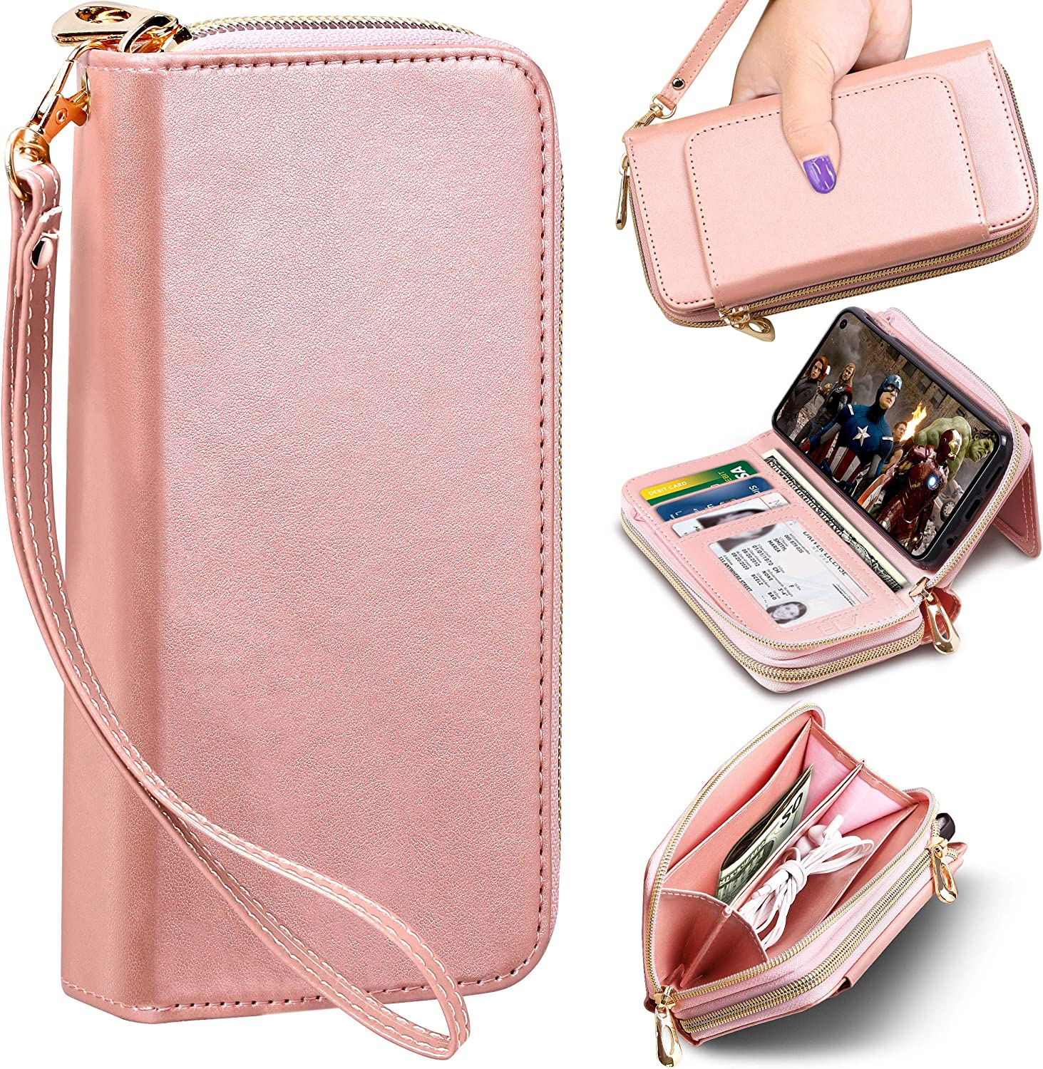 E LV PU Vegan Leather Handcrafted Wallet Purse Case for Galaxy S10E, Flip Folio Case with (Kickstand Function) and (Card Slots) for Galaxy S10E (Rose Gold, Samsung S10E)