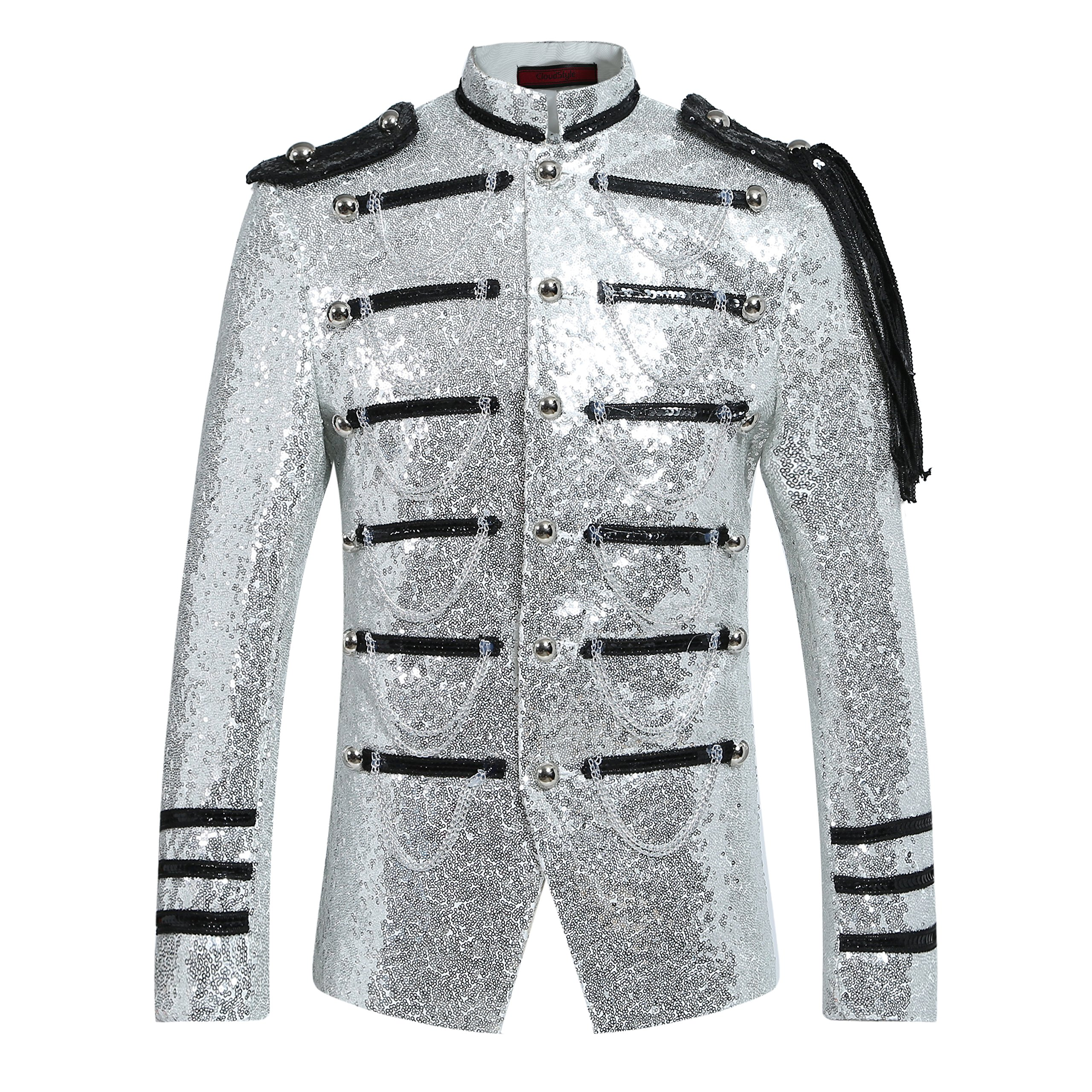Mens 2-Piece Suit Fashion Sequin Party Prom Dinner Blazer Tuxedo Jacket Trousers,White,Large by Cloudstyle (Image #2)