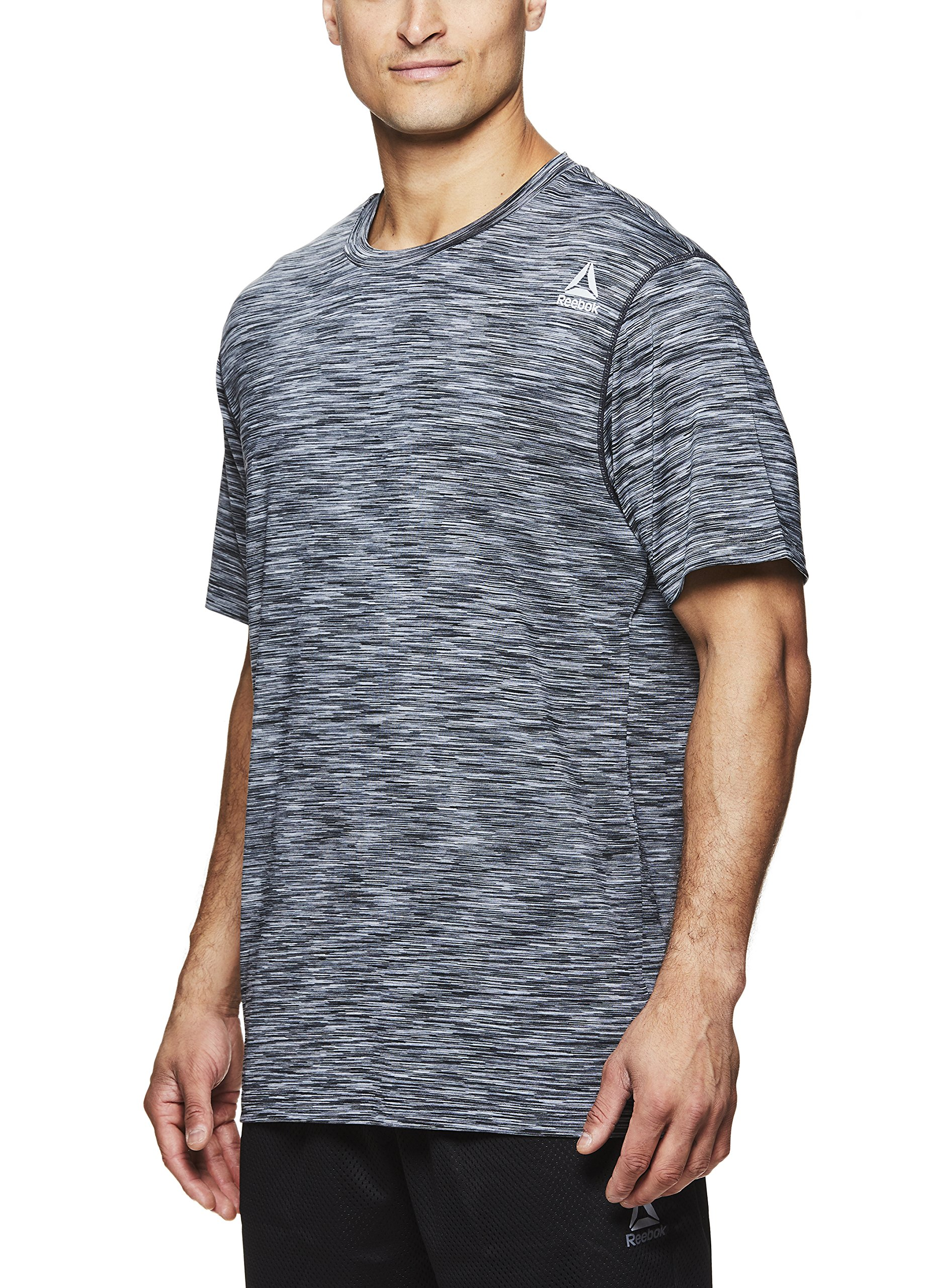 Reebok Men's Supersonic Crewneck Workout T-Shirt Designed with Performance Material - Black Decline Press, Small