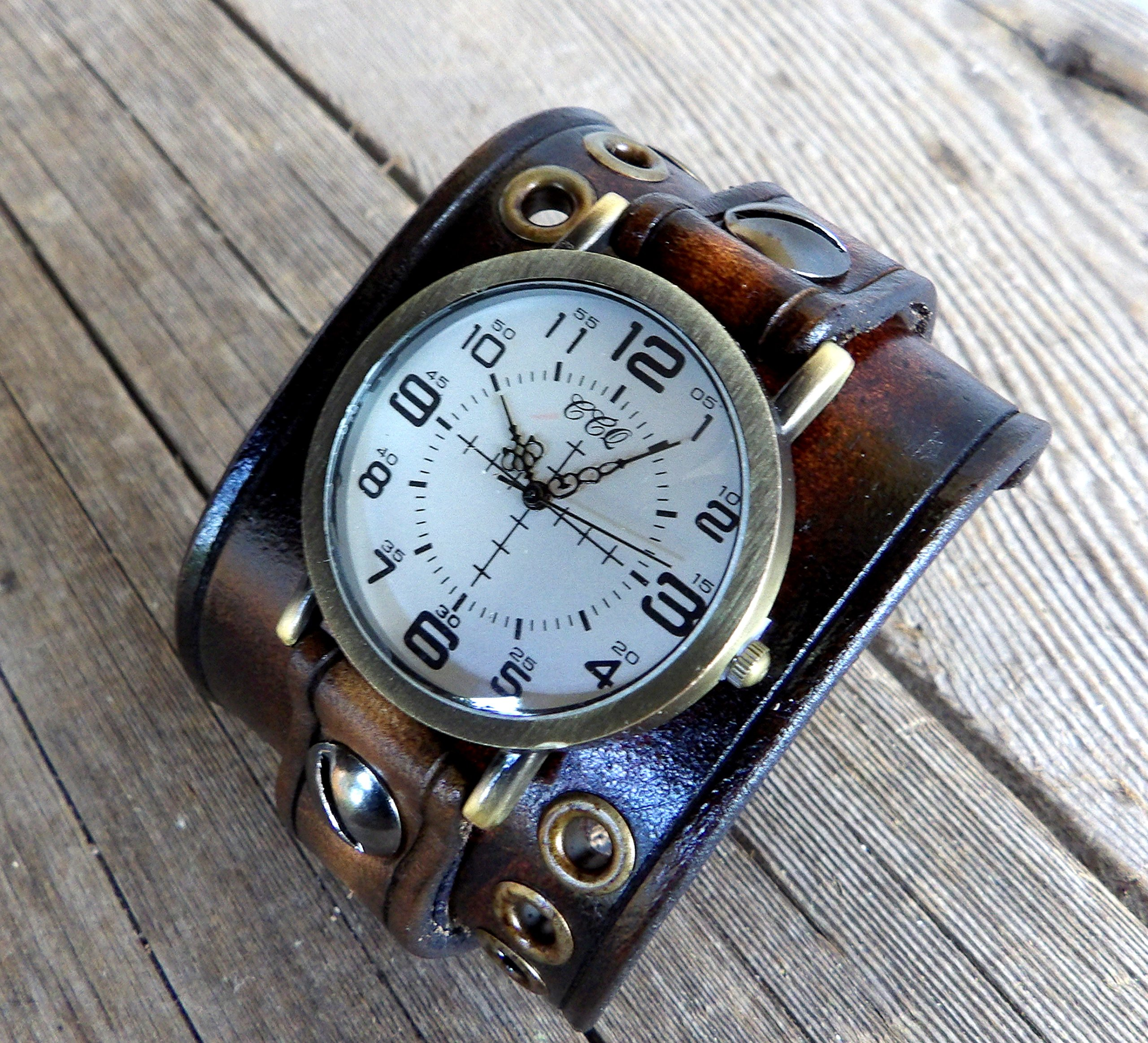 Unisex leather watch, Dark brown leather cuff, Bracelet watch, Leather watch cuff, Men's watch, Women's watch,