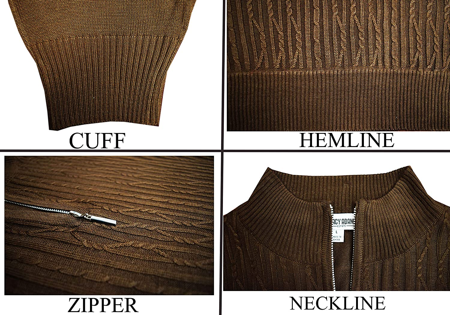 Solid Cable Knit Twist STACY ADAMS Mens Sweater
