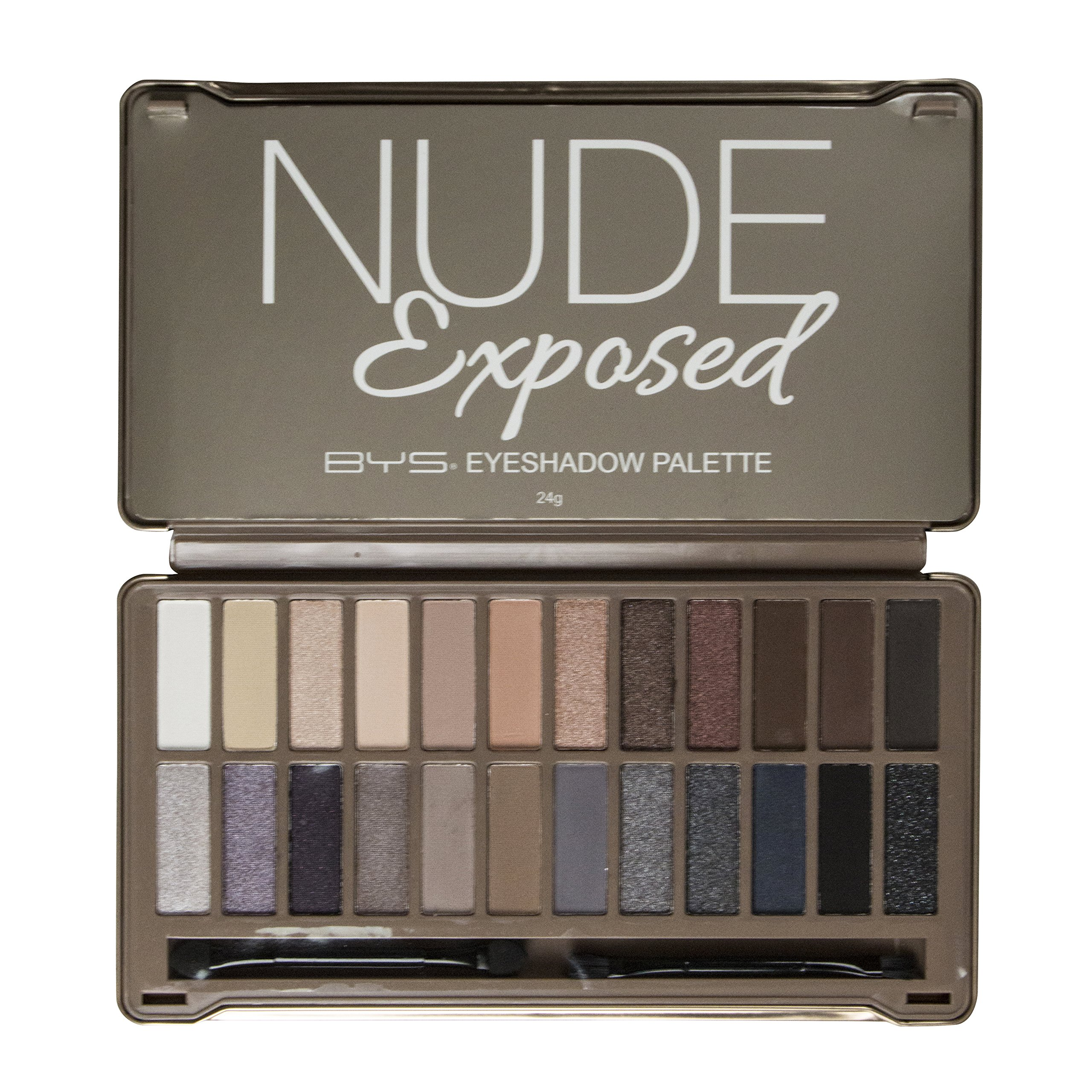 BYS 24 Shade Nude Exposed Eyeshadow Collection Palette Tin with Mirror, Double Ended Applicator and Blender