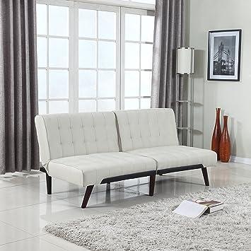 modern tufted linen splitback recliner sleeper futon sofa  beige  amazon    modern tufted linen splitback recliner sleeper futon      rh   amazon