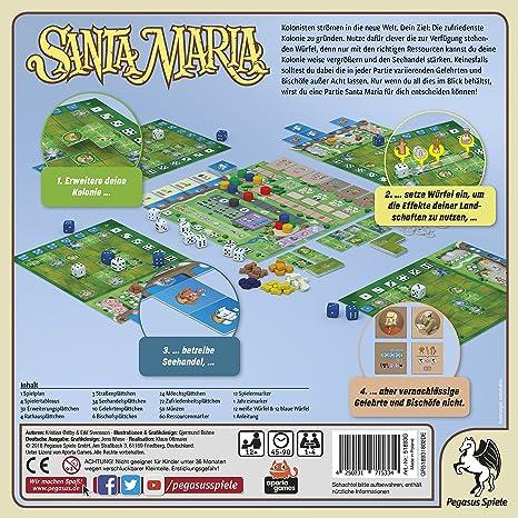 Pegasus Spiele 51893G Santa Maria - Juego de Mesa (Contenido en alemán): Amazon.es: Juguetes y juegos