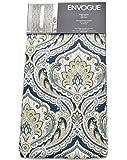 Envogue Eroica Brocade Damask Window Panels 50 by 96-inch Set of 2 Window Curtains Hidden Tabs Bohemian Paisley Scrolls Medallions Navy Blue Grey Metallic Gold Teal Gray