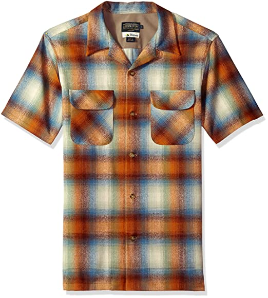 1950s Mens Shirts | Retro Bowling Shirts, Vintage Hawaiian Shirts Pendleton Mens Short Sleeve Board Shirt $129.00 AT vintagedancer.com