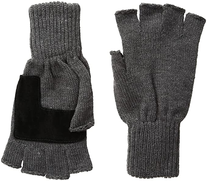 Levis Mens Heathered Knit Fingerless Gloves Charcoal One Size At