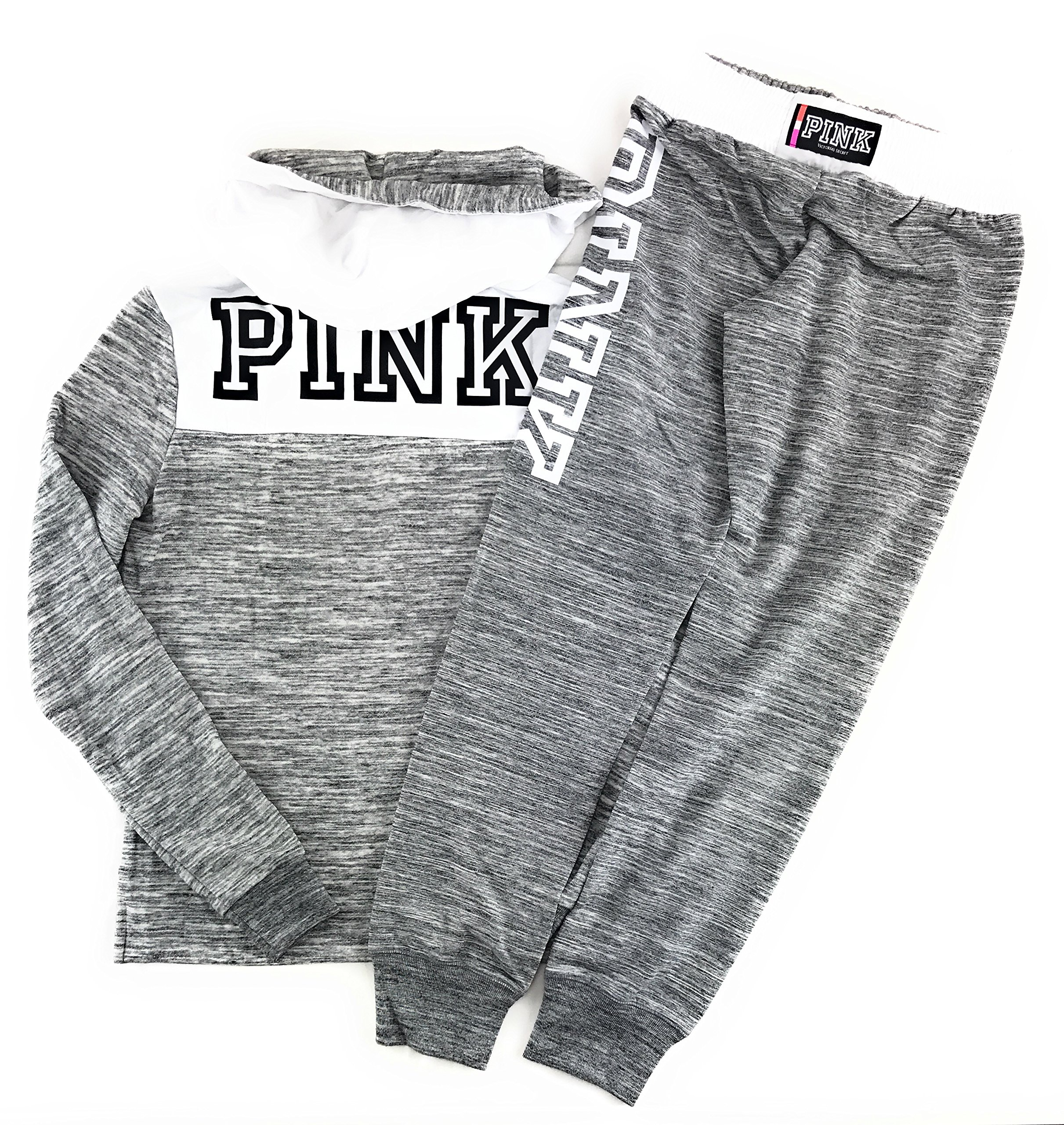 Victoria's Secret Pink Hoodie and Sweat Pants Set Heather Night Snow/Triumph White Large by Victoria's Secret