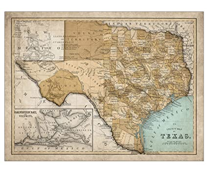 Giclee Map Of Texas Large Vintage Map Of The Lone Star State