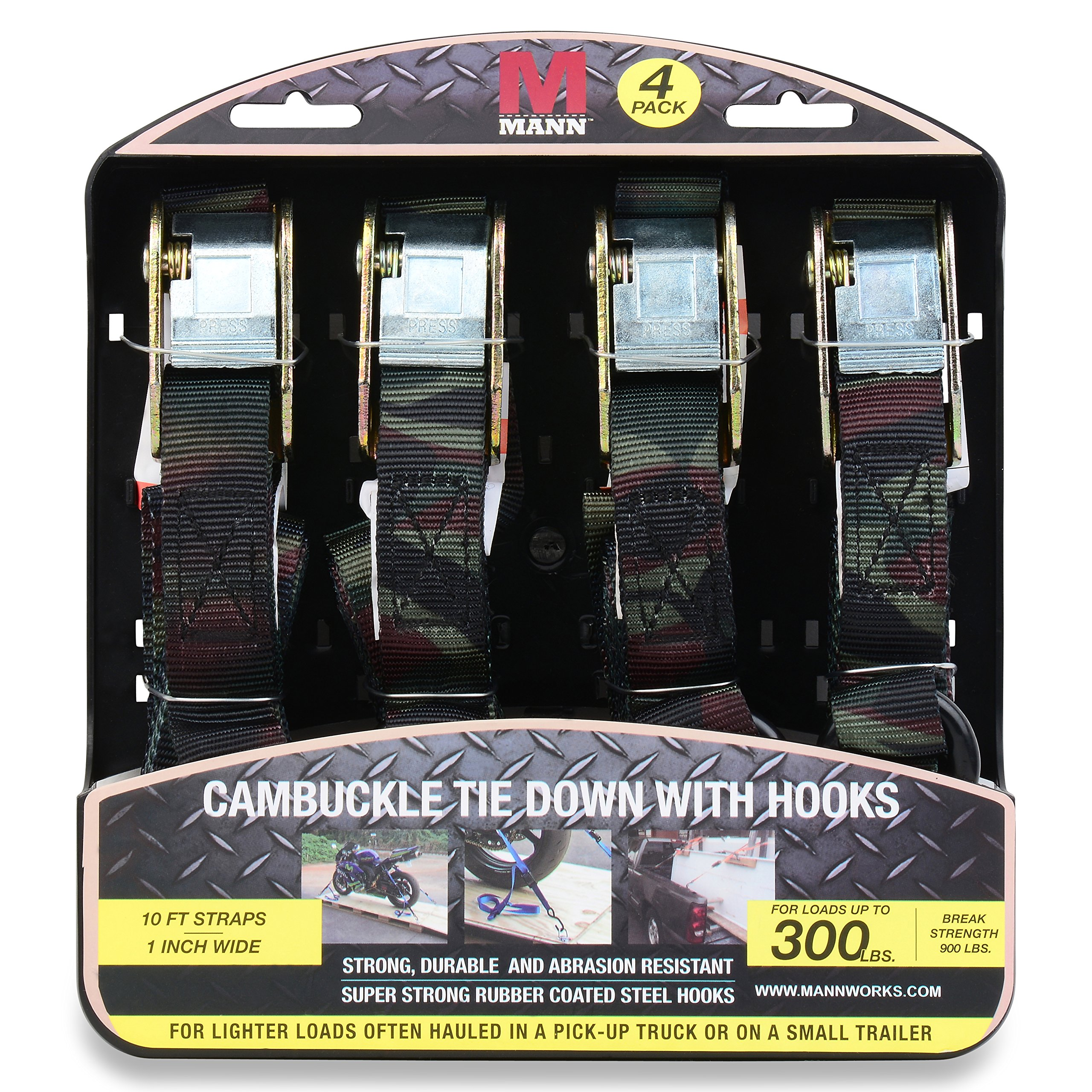 Mann Cambuckle Tie Down Straps with S-hooks 4-Pack Set 1 Inch x 10 Feet 300 Pound Load Capacity 900 Pound Break Strength (Camo)