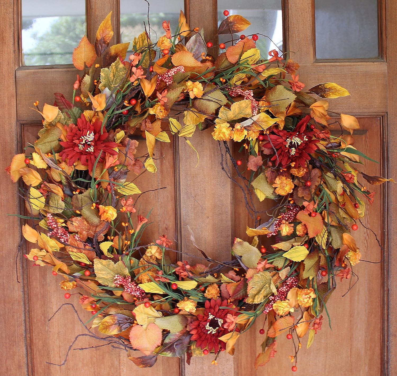 Silk Fall Door Wreath - 22 inches