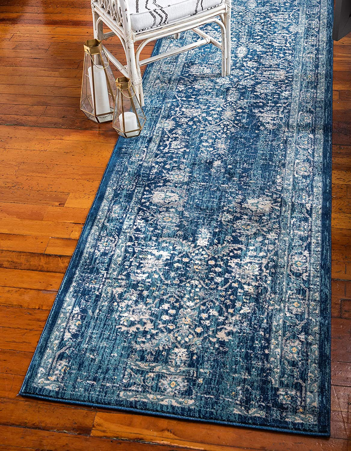 Unique Loom Oslo Traditional Botanical Runner Rug, 3 x 13 Feet, Navy Blue/Turquoise