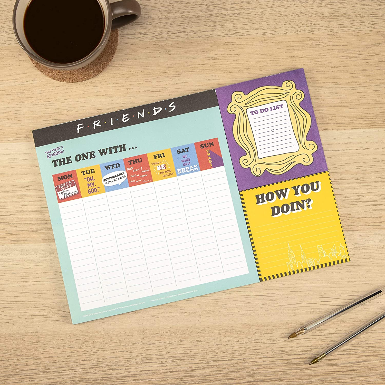Friends TV Sitcom Themed Desk Planner Weekly Calendar 52 Pages - Includes A Handy To Do List