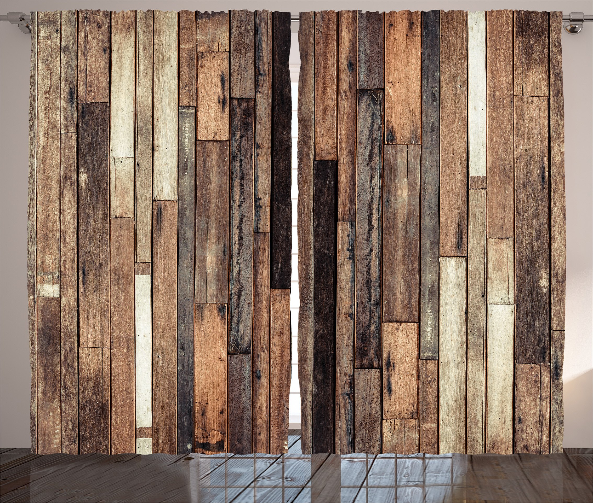 Ambesonne Wooden Curtains 2 Panel Set by, Brown Old Hardwood Floor Plank Grunge Lodge Garage Loft Natural Rural Graphic Artsy Print, Living Room Bedroom Decor, 108 W X 90 L Inches, Brown by Ambesonne (Image #1)