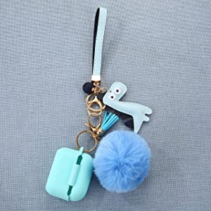 Airpod Pro Case with Cute Dinosaur Keychain/Fur Ball/Strap (Mint)