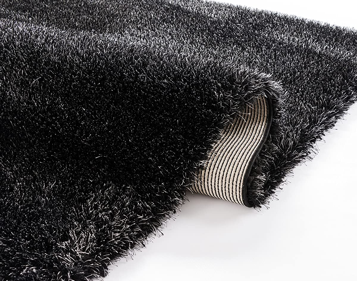 "Shimmer Shag Black Solid Plain Modern Luster Ultra Thick Soft Plush 3x5 ( 33"" X 5 ) Area Rug Contemporary Retro Polyester Textured Two Length 2"" Pile Yarn Easy Clean Stain Fade Resistant"