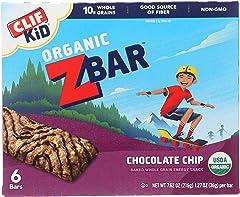 CLIF KID ZBAR - Organic Granola Bars - Chocolate Chip - Non-GMO - Organic -Lunch Box Snacks (1.27 Ounce Energy Bars, 6 Count)