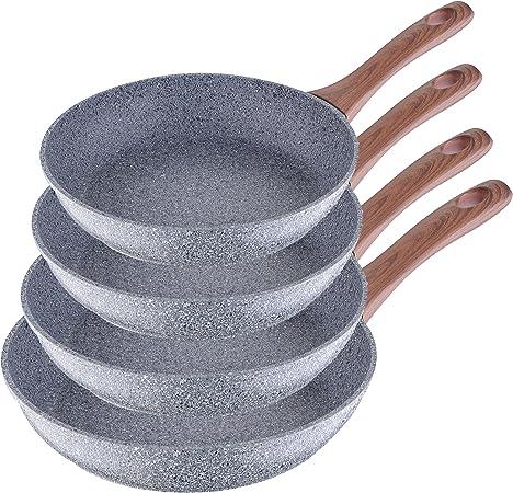 San Ignacio Granito - Set de 4 sartenes (20-24-26-28 cm), alumino forjado antiadherente, apto para todo tipo de cocinas incluido inducción: Amazon.es: Hogar
