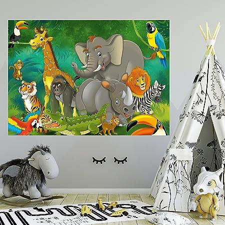 murimage Fototapete Kinderzimmer 183 x 127 cm Tiere Safari Dschungel Kinder Kids Junge Mädchen Elefant Tapete inklusiv Kleist