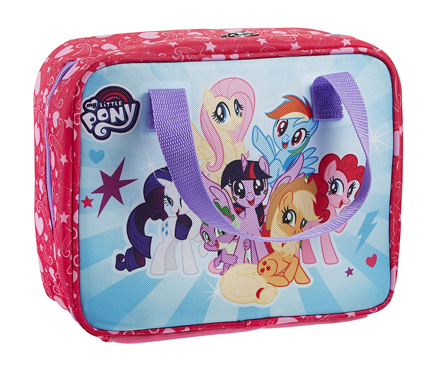 Fit & Fresh My Little Pony Insulated Lunch Bag with Glitter Ice Pack and Full Zip Closure, Fluttershy, Applejack, Pinkie Pie, Rarity, Twilight Sparkle, Rainbow Dash