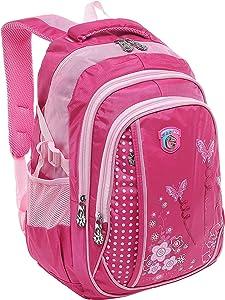 MGgear 18 Inch Girls Butterfly Pink Student School Bookbag/Children's Backpack