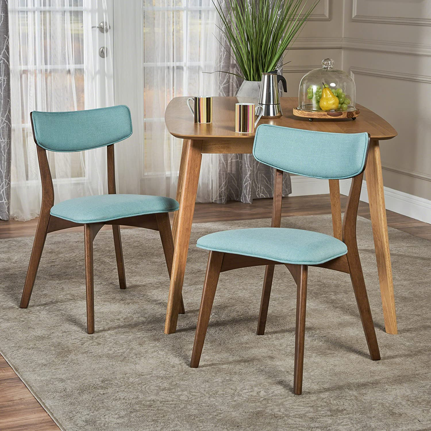 Amazon com molly mid century modern mint fabric dining chairs with natural walnut finished rubberwood frame set of 2 chairs
