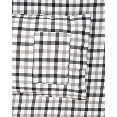 TRIBECA LIVING BGPL200EDSSQU 200-GSM Micro Plaid Printed Flannel Sheet Set, Queen, Multicolor