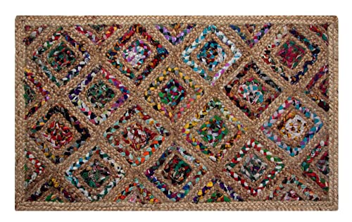 Better Trends Diamond Dyed Chindi Fabric Braided Area Rug, 3 by 5-Feet, Natural Hemp
