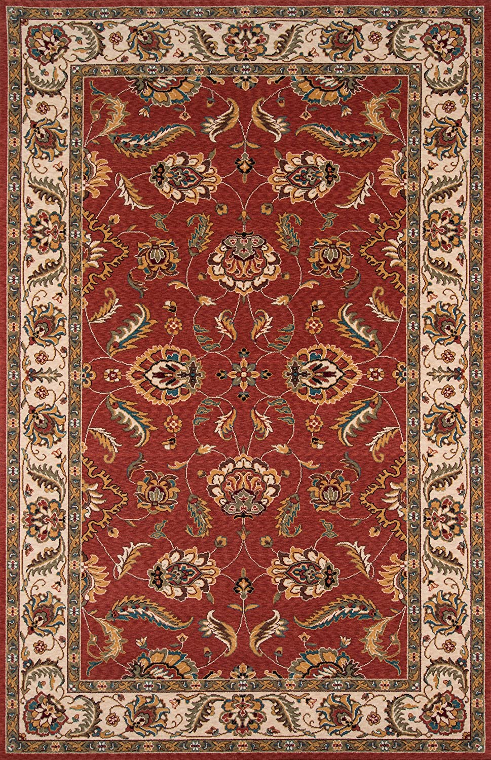 Momeni Rugs Persian Garden Collection, 100% New Zealand Wool Traditional Area Rug, 2' x 3', Salmon Red