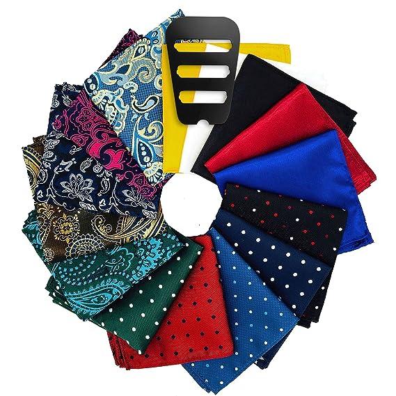 Pocket Squares for men 15 Pack set with Pocket Square Holder in Designer Gift Box Assorted colors Polka dots Paisley Plain by ekSel best pocket squares