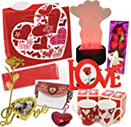 JOYIN Set with LED Decor, 2 Valentine Mugs, Heart Shape Key Chain, Fabric Rose, Mini Bear, Gold Foil Rose, Love Letter, Photo