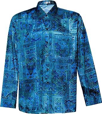Camisa de seda tailandesa para hombre con estampado gráfico de manga larga: Amazon.es: Ropa y accesorios