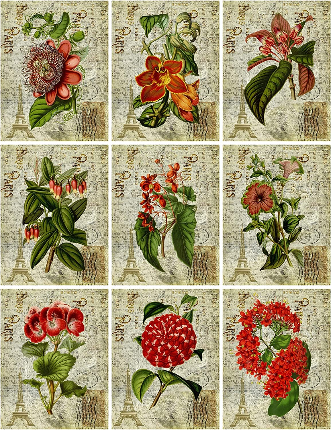 Mixed Media card making Red Label Phrases Collage Sheet printed for you  on Fabric or cardstock Junk journal