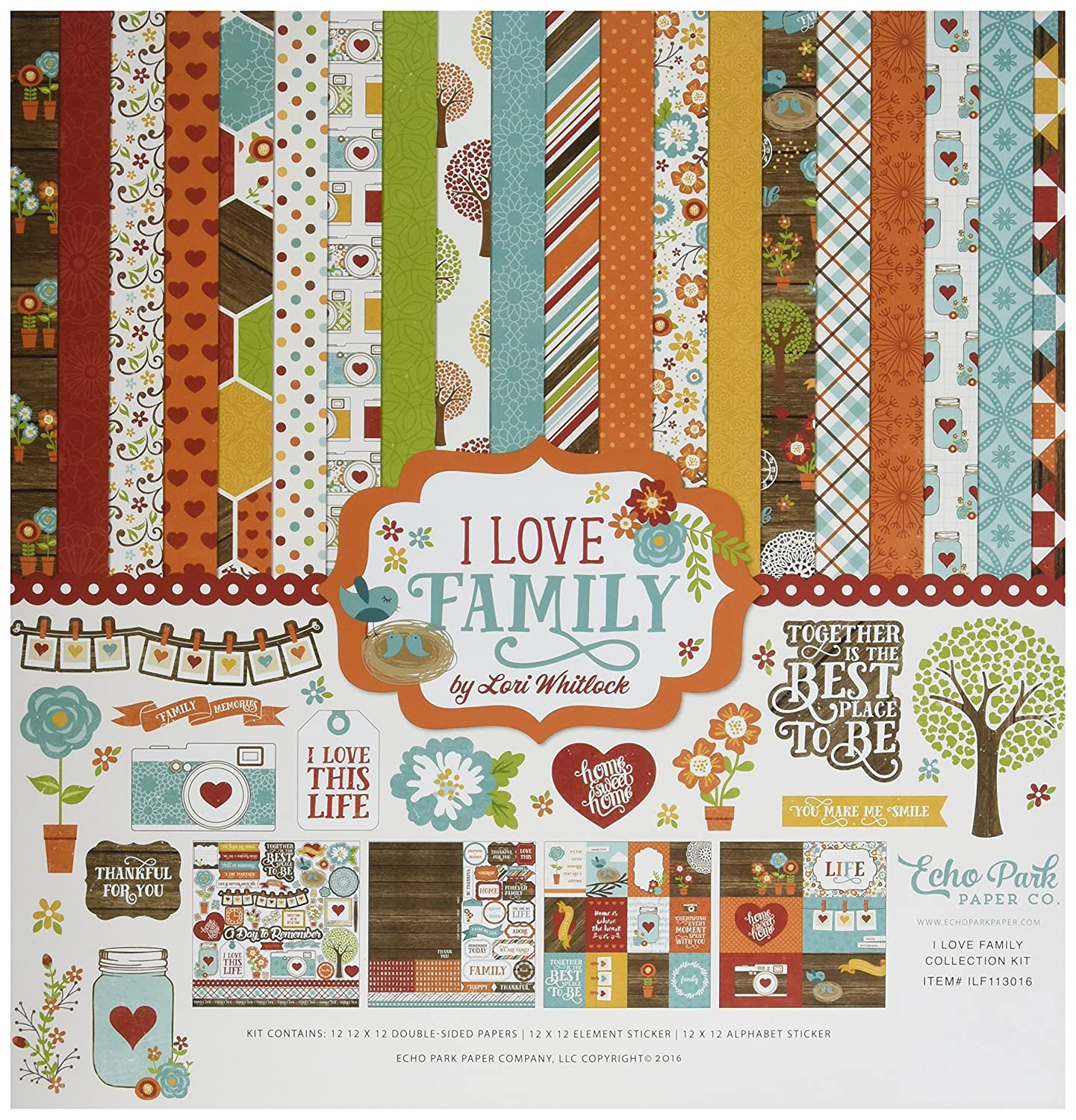 Echo Park Paper Company ILF113016 I Love Family Collection Kit Carta Bella Paper